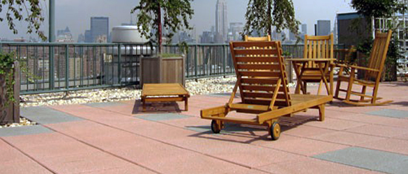 Green Roof Solutions 100% recycled rubber tiles in a range of colors and tile patterns. Designed to allow water to flow under them.