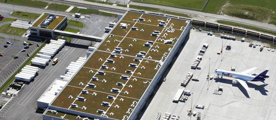 Green Roof Solitions - FedEx facility O'Hare Airport green roof Chicago, Illinois